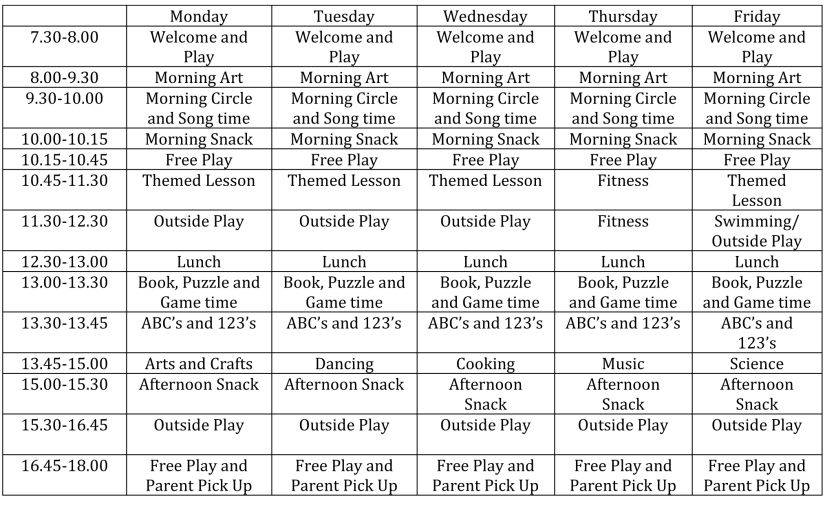 Weekly Schedule 2017